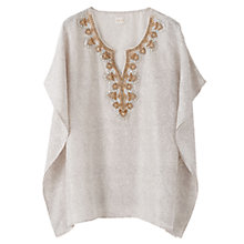 Buy East Embellished Silk Kaftan, Smoke Online at johnlewis.com