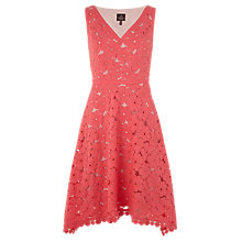 Buy Adrianna Papell V-Neck Fit And Flare Lace Dress, Coral Online at johnlewis.com