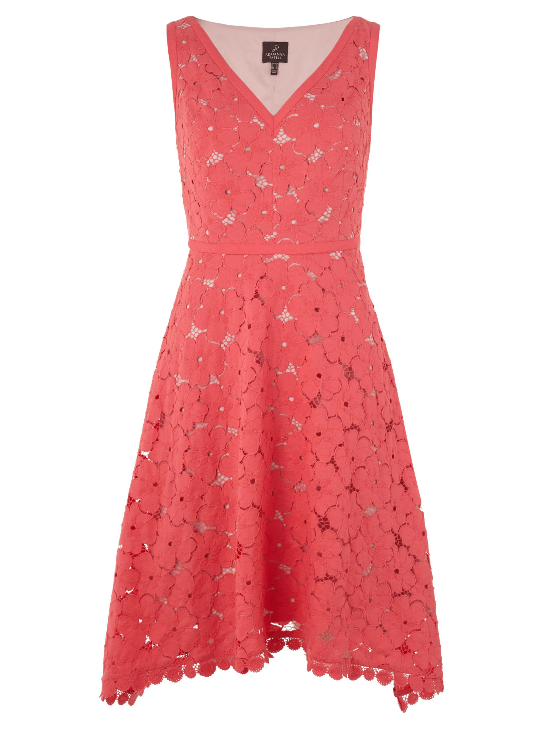 adrianna papell v-neck fit and flare lace dress coral, adrianna, papell, v-neck, fit, flare, lace, dress, coral, adrianna papell, 18|8|12|10|16|14, women, brands a-k, womens dresses, gifts, wedding, wedding clothing, female guests, 1921642
