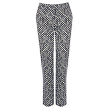Buy Warehouse Geo Print Cotton Trousers, Black Online at johnlewis.com
