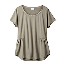 Buy East Silk Trim Detail Top, Khaki Online at johnlewis.com