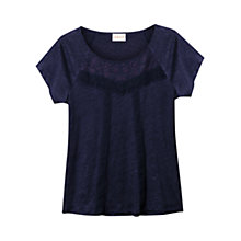 Buy East Lace Detail T-Shirt, Navy Online at johnlewis.com