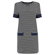 Buy Oasis Chambray Pocket Stripe Shift Dress, Blue/Multi Online at johnlewis.com