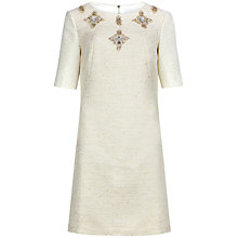 Buy Ted Baker Embellished Shift Dress, Cream Online at johnlewis.com