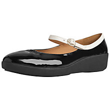 Buy FitFlop F-Pop Mary Jane Pumps, Black/White Patent Online at johnlewis.com