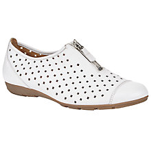 Buy Gabor Gibson Perforated Zip Detail Shoes, White Leather Online at johnlewis.com
