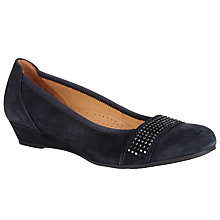 Buy Gabor Aylesford Suede Wedge Shoes, Night Blue Online at johnlewis.com