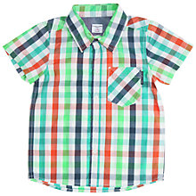 Buy Polarn O. Pyret Boys' Check Shirt, Green/White Online at johnlewis.com