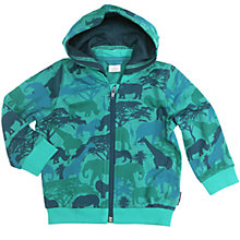 Buy Polarn O. Pyret Children's Safari Print Hoodie, Turquoise Online at johnlewis.com