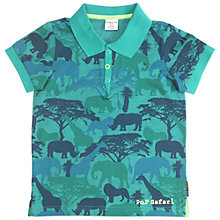 Buy Polarn O. Pyret Children's Safari Polo Top, Turquoise Online at johnlewis.com
