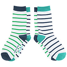 Buy Polarn O. Pyret Children's Stripe Socks, Pack of 2, Blue/White Online at johnlewis.com