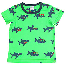 Buy Polarn O. Pyret Baby Sharks Print T-Shirt, Green Online at johnlewis.com