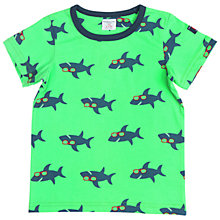 Buy Polarn O. Pyret Children's Shark Print T-Shirt, Green Online at johnlewis.com