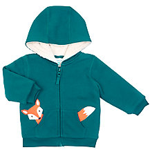 Buy John Lewis Baby's Fox Zipped Hoody, Green Online at johnlewis.com