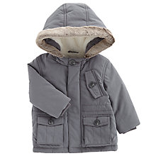 Buy John Lewis Baby's Faux Fur Lined Coat, Grey Online at johnlewis.com