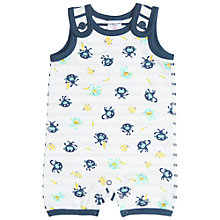 Buy Polarn O. Pyret Baby Monkey Print Romper, Blue/White Online at johnlewis.com