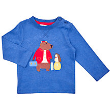 Buy John Lewis Baby's Long Sleeve Bear Porter T-Shirt, Blue Online at johnlewis.com