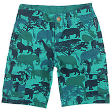 Buy Polarn O. Pyret Boys' Safari Print Shorts, Turquoise Online at johnlewis.com