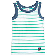Buy Polarn O. Pyret Baby Striped Vest, Turquoise/White Online at johnlewis.com
