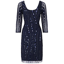 Buy Aidan Mattox Three-Quarter Sleeve Scoop Dress, Twilight Online at johnlewis.com