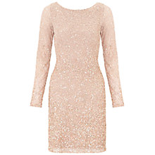 Buy Aidan Mattox Long Sleeve Beaded Cocktail Dress, Blush Online at johnlewis.com