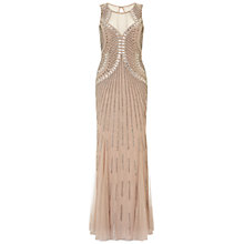 Buy Aidan Mattox Sleeveless Beaded Gown, Light Mink Online at johnlewis.com
