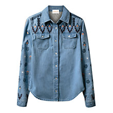 Buy East Embroidered Denim Shirt, Indigo Online at johnlewis.com