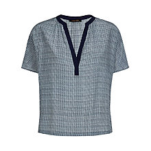 Buy Jaeger Silk Stitch Print Top, Blue Online at johnlewis.com