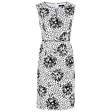 Buy Precis Petite Mono Print Shift Dress, White / Black Online at johnlewis.com