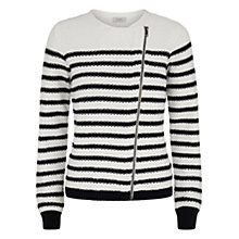 Buy Hobbs Abi Biker Cardigan, White/Navy Online at johnlewis.com