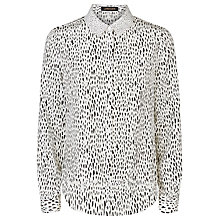 Buy Jaeger Silk Overlay Dot Shirt, Ivory / Black Online at johnlewis.com