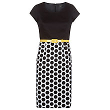 Buy Precis Petite Pique Block Spot Dress, Black / Yellow Online at johnlewis.com