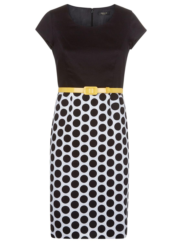 precis petite pique block spot dress black / yellow, precis, petite, pique, block, spot, dress, black, yellow, precis petite, 16|18|10|8|14|12|6, women, womens dresses, new in clothing, 1923402
