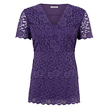 Buy Kaliko Tiered Lace Jersey Top, Mid Purple Online at johnlewis.com