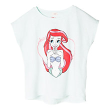 Buy Mango Kids Girls' Disney Princess Ariel T-Shirt, Turquoise Online at johnlewis.com