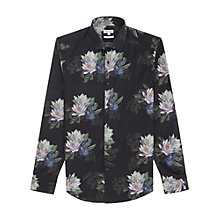 Buy Reiss Bondi Dark Bloom Shirt, Black Online at johnlewis.com