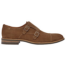 Buy Reiss Shoot Suede Double Monk Strap Shoes, Mid Brown Online at johnlewis.com