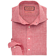 Buy Thomas Pink Wallen Linen Check Shirt, Red/White Online at johnlewis.com