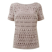 Buy Mint Velvet Mineral Lace Shell Top, Brown Online at johnlewis.com
