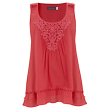 Buy Mint Velvet Lace Detail Vest Top, Papaya Online at johnlewis.com