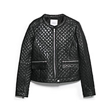 Buy Mango Leather Quilted Jacket, Black Online at johnlewis.com