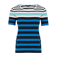 Buy Viyella Striped Vertical T-Shirt, Turquoise Online at johnlewis.com