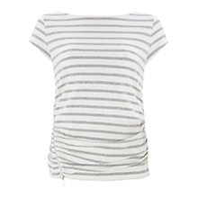 Buy Mint Velvet Stripe T-Shirt, Ivory / Silver Online at johnlewis.com