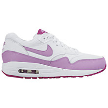 Buy Nike Air Max 1 Essential Leather Women's Trainers, White/Purple Online at johnlewis.com