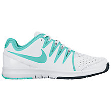 Buy Nike Vapor Court Women's Tennis Shoes, White/Turquoise Online at johnlewis.com
