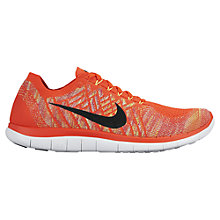 Buy Nike Free 4.0 Flyknit Men's Running Shoes, Orange/Black Online at johnlewis.com