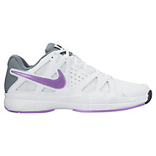 Buy Nike Air Vapor Advantage Women's Tennis Shoes, White/Purple Online at johnlewis.com