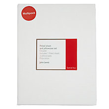 Buy John Lewis Polycotton 180 Thread Count Fitted Sheet and Pillowcase Set Online at johnlewis.com