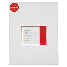 Buy John Lewis 180 Thread Count Polycotton Fitted Sheet and Pillowcase Set Online at johnlewis.com