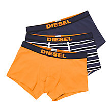 Buy Diesel Shawn Stretch Cotton Trunks, Pack of 3, Orange/Navy Online at johnlewis.com